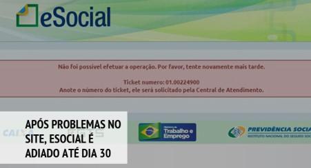 Após problemas no site, eSocial é adiado até dia 30 de novembro