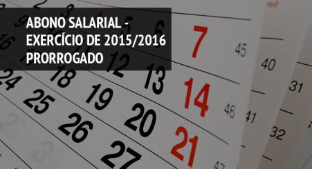 Abono Anual - Exercício 2015/2016 - PAGAMENTO PRORROGADO